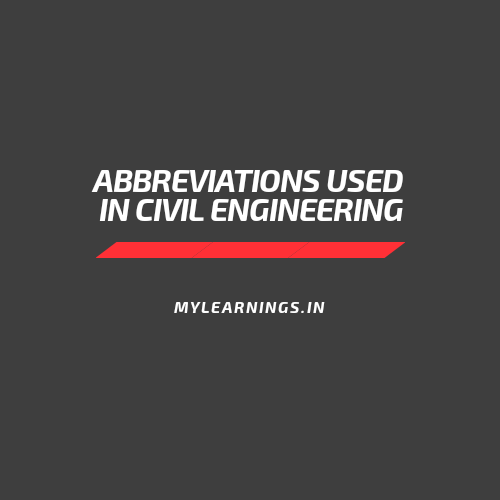 Abbreviations used in civil engineering